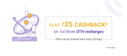 phonepe dth offer of flat Rs.25 cashback
