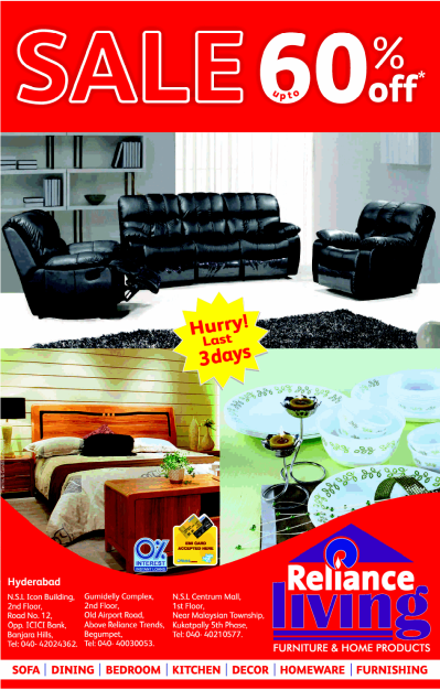 Reliance Living presents DISCOUNT SALE upto 60% off on ...