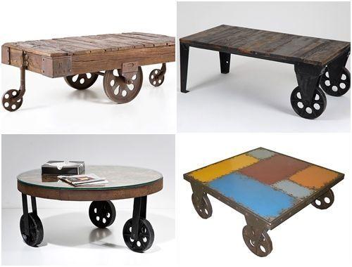 Mesas vintage con ruedas de carro decomanitas for Muebles tipo vintage