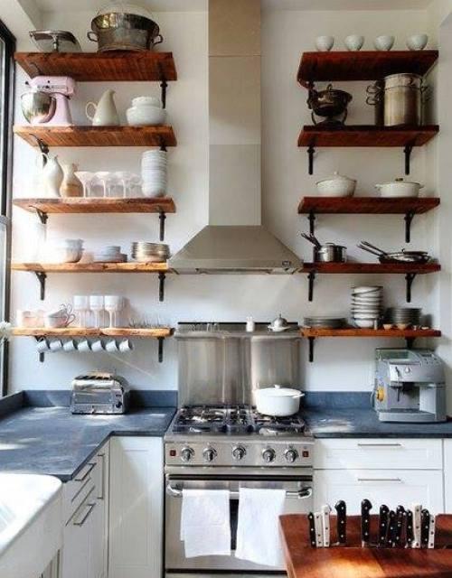 Estantes Para Baño Economicas:Estanterías de madera baratas con escuadras para cocinas con encanto