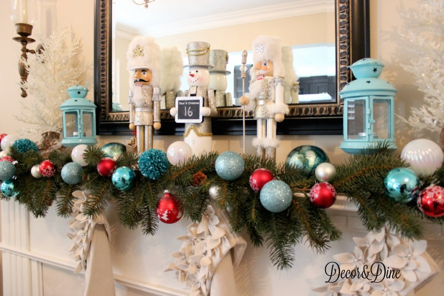 Blue and red Christmas mantel