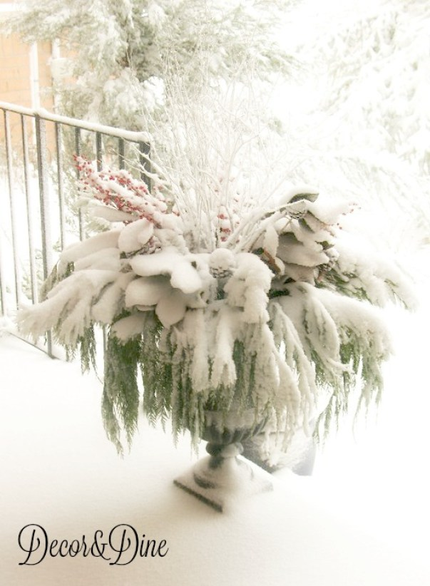 snow covered Holiday urn
