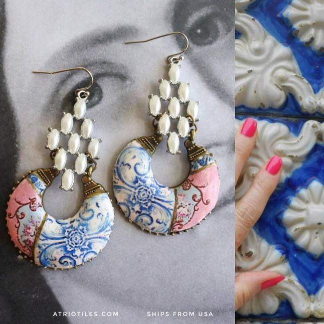 atrio earings, blue and coral