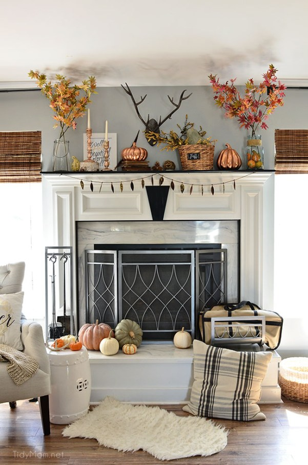 Fall Mantel with touches of copper and rosegold at TidyMom.net