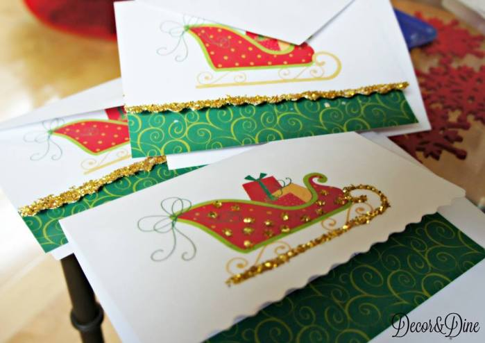 Christmas cards embellished with glitter