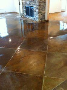 Stained concrete - ready to be sealed