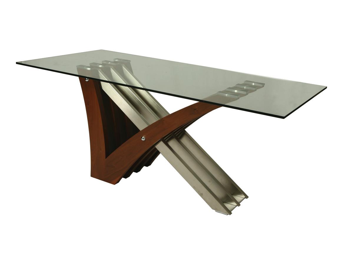 akasha dining table stainless steel walnut veneer stainless steel kitchen table Akasha Dining Table Stainless Steel Walnut Veneer Finish