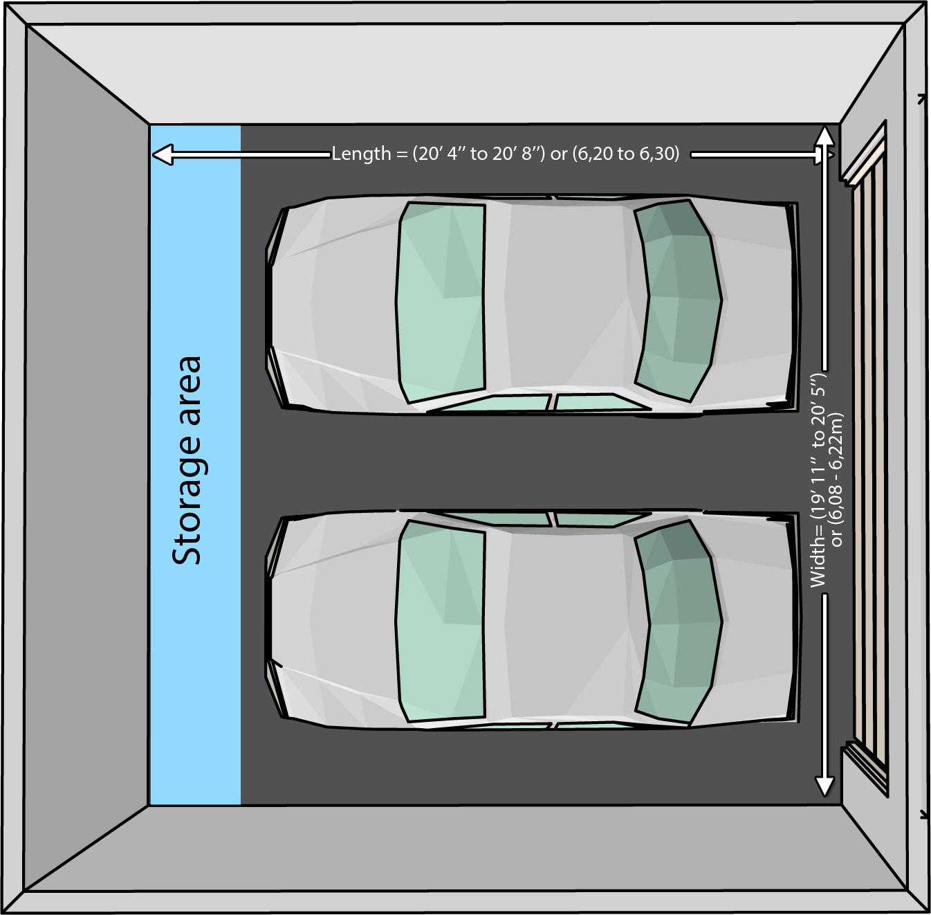 Fullsize Of Two Car Garage Size