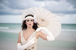 Vintage Beach Wedding || Bridal Parasol