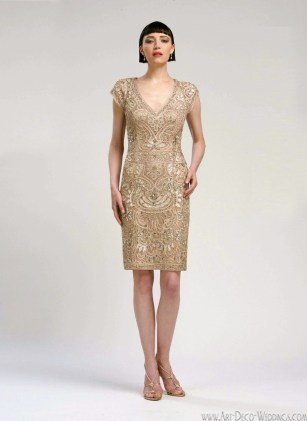 Sue Wong Art Deco Cocktail Dress N1436