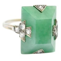 Jade Art Deco Ring || Vintage Jewelry