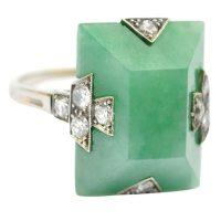 Jade Art Deco Ring    Vintage Jewelry