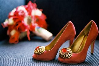 Red Deco Wedding Shoes || Joey + Justin