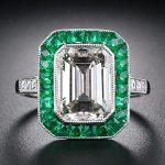 Emerald Cut Diamond Ring w/Emerald Halo
