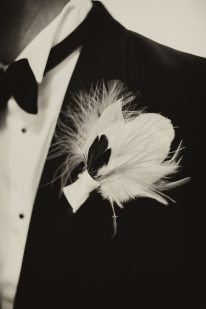 Art Deco Feather Boutonniere