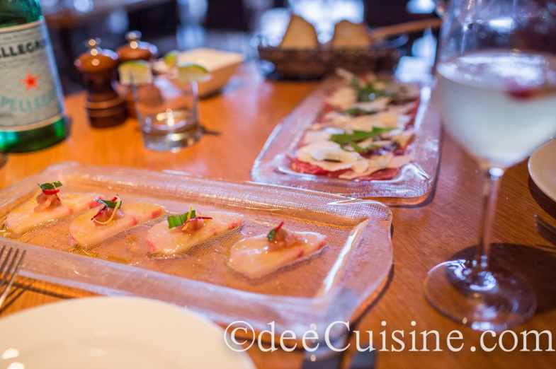 Morello Bistro Hamachi Crudo and Beef Carpaccio