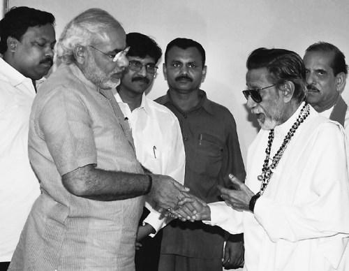 Narendra Modi seen here with then supremo of Shiv Sena late Balasaheb Thackeray in Mumbai. (Express archive photo)