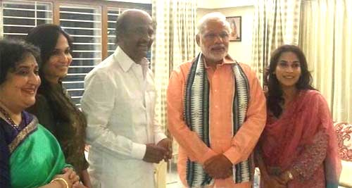 Rajinikanth Family Picture With Modi