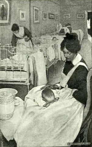 The Power Of A Rocking Mother - Mothers Rock!, Halsey [Hospital] Nursery, motherhood, mothering, homemaking, rocking chair, singing, lullabies, nursery, joy, quality time, warmth, closeness, infant, well-being, motherly instincts, reading aloud, rocking chair, rocker, Jessie Willcox Smith, MOTHERS ROCK!, artwork, paintings, book, Love You Forever, Robert Munsch, children's book, child development, mother/ child bonding, quotes, Above Rubies, Nancy Campbell, kangaroo care, healthy babies, wellness, grandmother and baby,