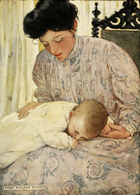 The Power Of A Rocking Mother - Mothers Rock!, Halsey [Hospital] Nursery, motherhood, mothering, homemaking, rocking chair, singing, lullabies, nursery, joy, quality time, warmth, closeness, infant, well-being, motherly instincts, reading aloud, rocking chair, rocker, Jessie Willcox Smith, MOTHERS ROCK!, artwork, paintings, book, Love You Forever, Robert Munsch, children's book, child development, mother/ child bonding, quotes, Above Rubies, Nancy Campbell, kangaroo care, healthy babies, wellness, grandmother and baby, Sweet and Low, jessie willcox smith, painting