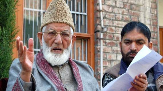 Syed Ali Shah Geelani adressing a press conference in Srinagar on 18-Oct-2012. Express archive photo