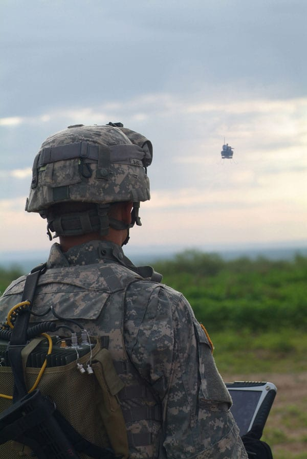 A soldier tests the Class 1 UAS. U.S. Army photo