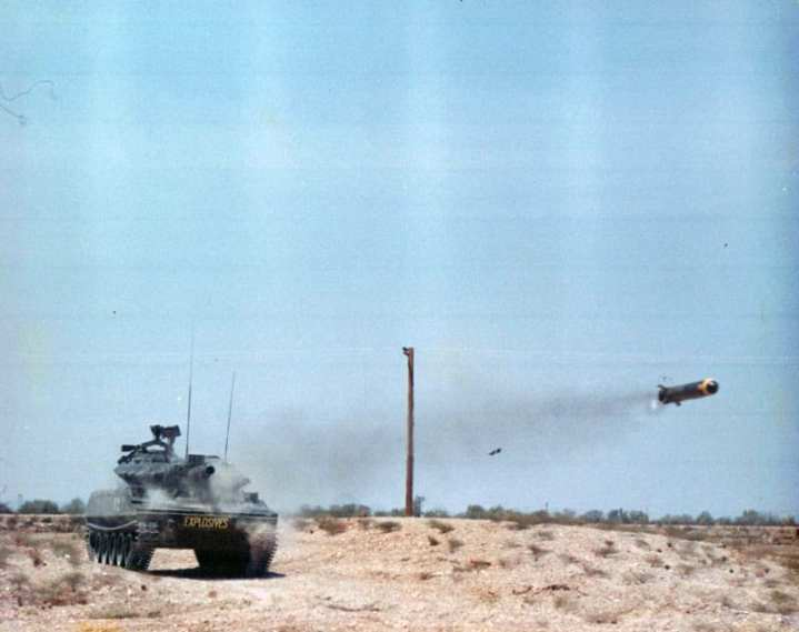 An XM551 Sheridan test firing a Shillelagh missile in 1965. The XM551 went on to become the M551 Sheridan. U.S. Army photo