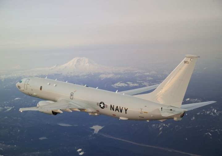 P-8A Poseidon T1 photographed during its delivery flight to Patuxent River Naval Air Station for flight testing. Photo courtesy of The Boeing Company.