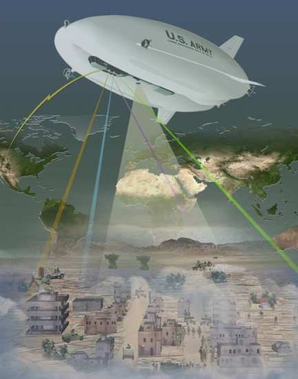 An image depicting the concept behind the LEMV, showing its connectivity to other assets and how its sensors would aid in persistent coverage over wide areas. Northrop Grumman image.