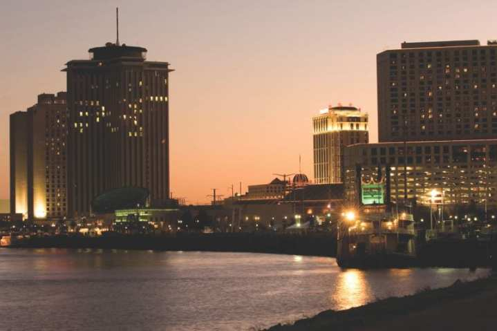 Hotels and casinos on the Mississippi River at sunset. Five years after the chaos of Hurricane Katrina, much work remains to be done.