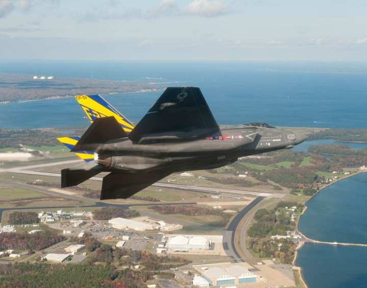 "The first F-35C Lightning II carrier variant, the U.S. Navy's first stealth fighter, arrived at Naval Air Station Patuxent River, Md. on Saturday, Nov. 6, 2010 at 2:37 p.m. EST. The aircraft, piloted by David ""Doc"" Nelson, departed Naval Air Station Fort Worth Joint Reserve Base at 11:31 a.m. EST and achieved successful air refueling at a maximum load of 19,800 pounds during the flight. At Patuxent River, the F-35C will conduct air-to-air refueling and performance testing. Photo courtesy of Lockheed Martin."