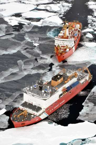 The Canadian Coast Guard Ship Louis S. St-Laurent makes an approach to the Coast Guard Cutter Healy in the Arctic Ocean, Sept. 5, 2009. The two ships were taking part in a multi-year, multi-agency Arctic survey that will help define the Arctic continental shelf. U.S. Coast Guard photo by Petty Officer Patrick Kelley