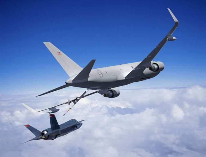 The Boeing Company received a contract from the U.S. Air Force to build the next-generation aerial refueling tanker aircraft that will replace 179 of the service's 400 KC-135 tankers. In this artist's conception, a Boeing KC-46A prepares to refuel an F-35 in flight. Boeing Imagery