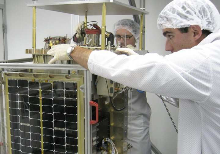 Cadets and instructors fabricate the FalconSAT-5 satellite