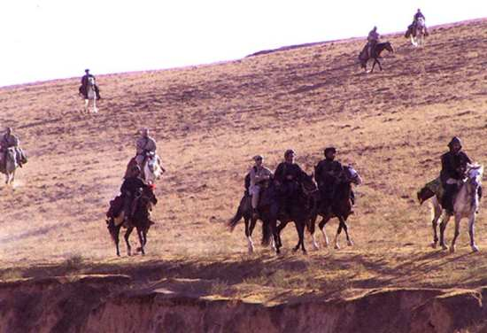 U.S. Special Forces on horseback. Afghanistan, 2001