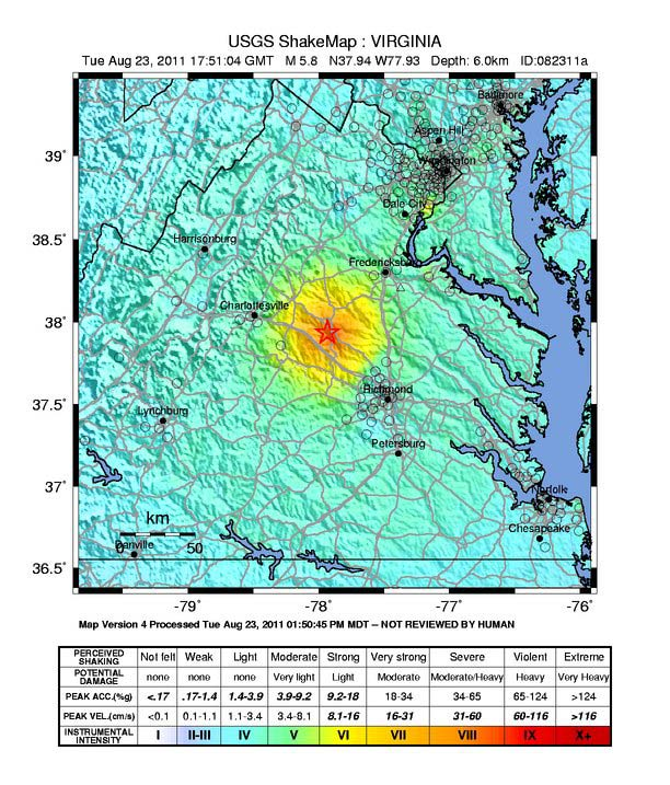 Virginia Earthquake Map