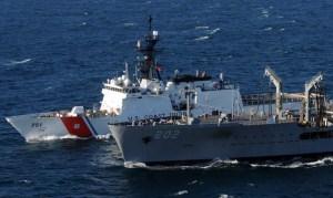 CGC Waesche at-sea refueling with the USNS Yukon