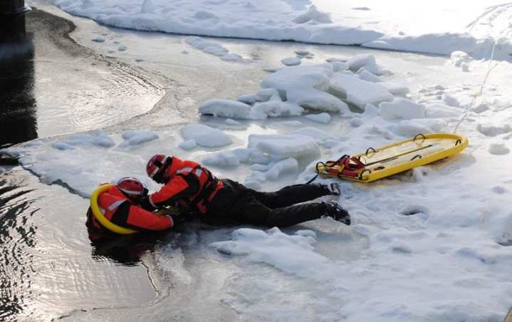 ice rescue drill at Michigan City