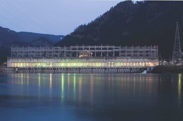 Power House 1 at the Bonneville Lock and Dam on the Columbia River, which flows between Washington and Oregon. The dam was built and is managed by the U.S. Army Corps of Engineers. U.S. Army Corps of Engineers photo