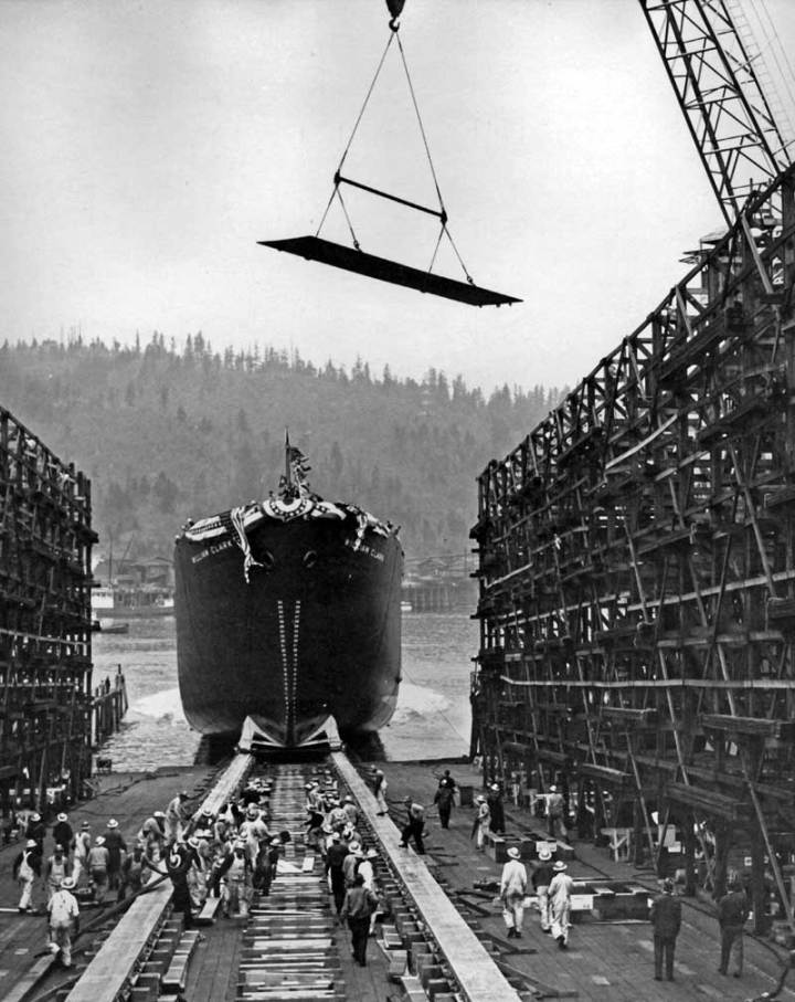 Launching of Liberty Ship SS William Clark