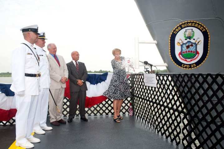 USS Somerset Christening