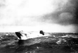 German U-boat, heavy seas