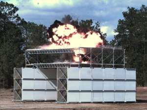 An MPS OHC configuration is subjected to an explosive test to validate its protective performance. ERDC photo