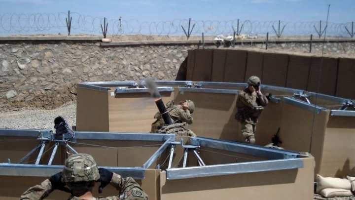 An MPS mortar pit in use by Soldiers of the 82nd Airborne Division in eastern Afghanistan. ERDC photo