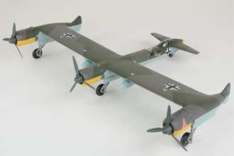 The Blohm und Voss P.170 was a bizarre design that reached an advanced stage on the drawing board but was never built or flown. With three engines on the forward wing, a tail wheel, and the pilot located far to the rear, this aircraft would have been difficult to taxi. Timothy Barb made this model of the P.170 from a 1:72 scale kit from the Czech model company Planet. Photo by Mike Fleckenstein