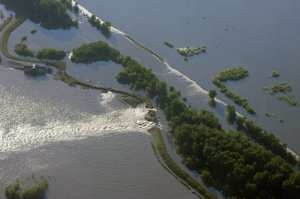 A U.S. Customs and Border Protection Predator B UAS flies 20,000 feet above the Souris River in Minot, N.D. The UAS broadcasted photos and video in real-time to emergency workers on the ground. The UAS assisted FEMA and state emergency responders during some of the worst flooding the region has seen in decades. U.S. Customs and Border Protection photo