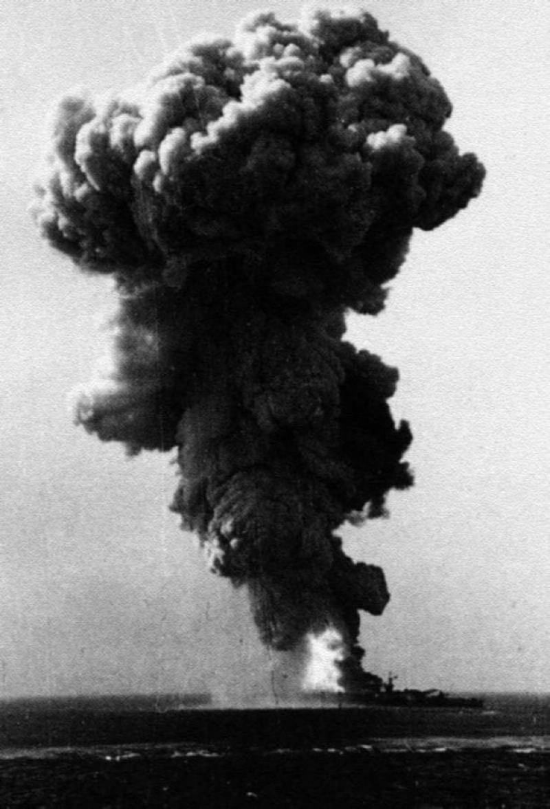 The Italian battleship Roma in her death throes, Sept. 9, 1943. Italian Navy photo
