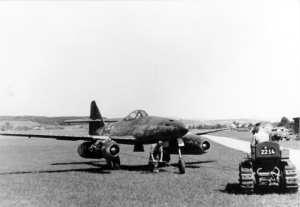 A Messerschmitt Me 262 Schwalbe (Swallow) at an austere airfield, ca. 1944. Bundesarchiv photo