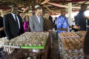 Secretary-General Ban Ki-moon (front, second from left) is shown an array of products locally farmed at the Centre Songhai, a non-governmental organization specialising in research, training and development of sustainable agricultural practices, in Porto Novo, Benin. The development of precision agriculture will go a long ways toward meeting the world's food needs. U.N. photo by Eskinder Debebe