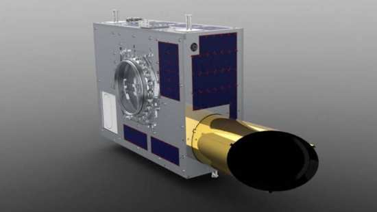 A CAD rendering of NEOSSat, the Canadian Space Agency's space telescope placed in orbit to look for dangerous Near Earth Objects (NEO). Image courtesy of MSCI